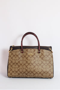 Coach Mia Satchel Signature Canvas F80301 IME7V Mix With Snake Print