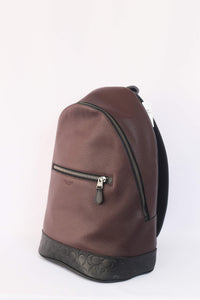 Coach West Slim Backpack With Signature Leather F79961 QBFCG In Oxblood Multi