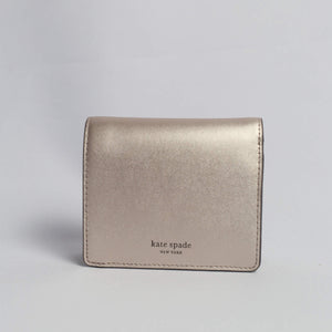 Kate Spade Nadine Small Bifold Wallet WLRU5595 In Metallic Blush