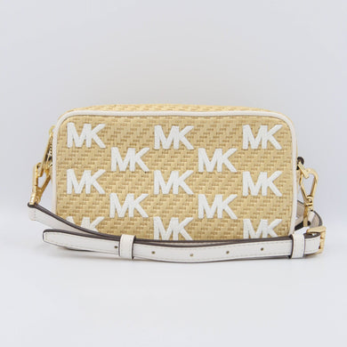Michael Kors Straw Python Capsule 35T0GWQC1W Kenly Small Camera Crossbody Bag In Optic White
