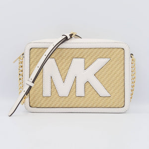 Michael Kors Straw Python Capsule 35T0GWQC9W JSI Large EW Crossbody Bag In Optic White