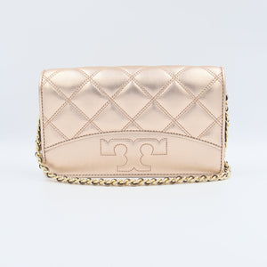 Tory Burch Savannah 64141 Chain Flat Wallet Crossbody Bag In Rose Gold