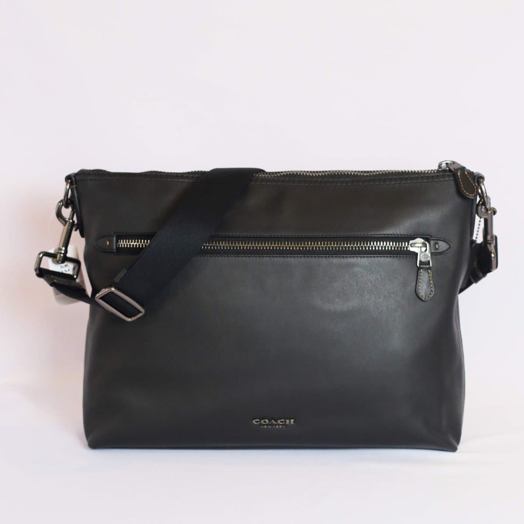 Coach Graham Soft Messenger Crossbody Bag F72511 In Black Leather