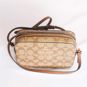 Coach Signature Mini Camera Crossbody Bag 91677 In Khaki Saddle