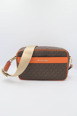 Michael Kors Large Kenly 35T0GY9C3B Pocket Crossbody Bag In Tangerine