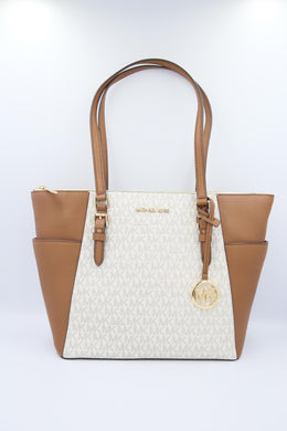 Michael Kors Charlotte 35T0GCFT3B Large Top Zip Tote Bag In Vanilla