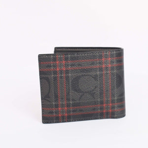 Coach 3 In 1 Wallet With Signature Shirting Plaid Print F88071 In Black Red Multi