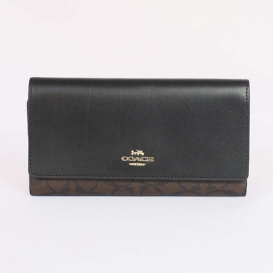 Coach Signature Trifold Wallet F88024 In Brown Black