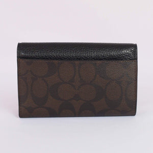 Coach Signature Jade Medium Envelope Wallet F87935 In Brown Black
