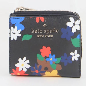 Kate Spade Small Staci Sailing Floral WLR00422 098 L-Zip Bifold Wallet In Black Multi