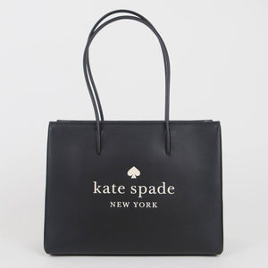 Kate Spade Large Trista Leather WKR00382 001 Shopper Tote Bag In Black