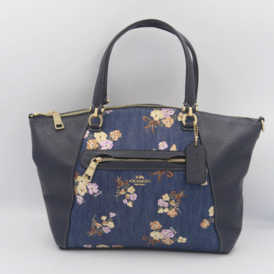 COACH PRAIRIE SATCHEL WITH PAINTED FLORAL BOX PRINT 91045 IN DENIM MULTI