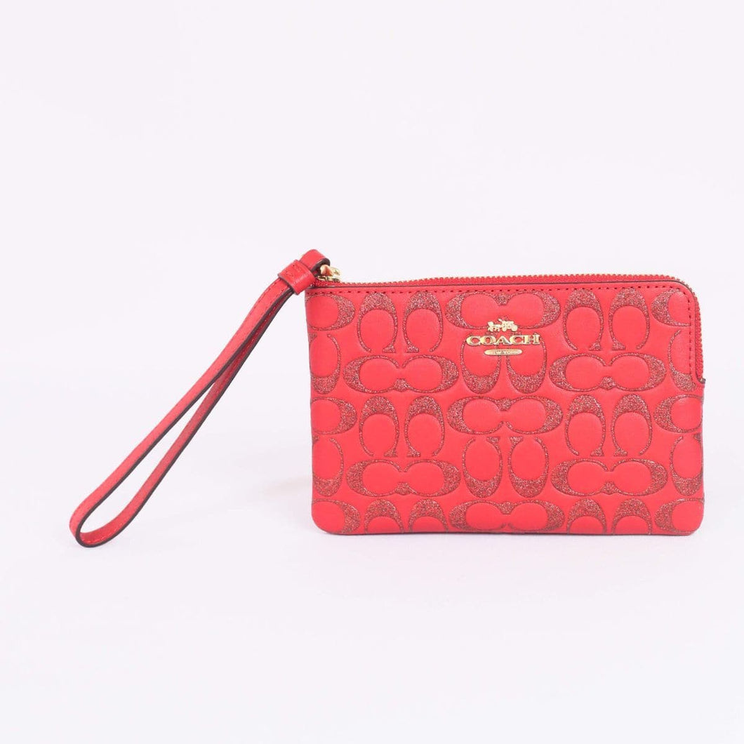 Coach Signature Glitter Corner Zip Wristlet F88085 In True Red