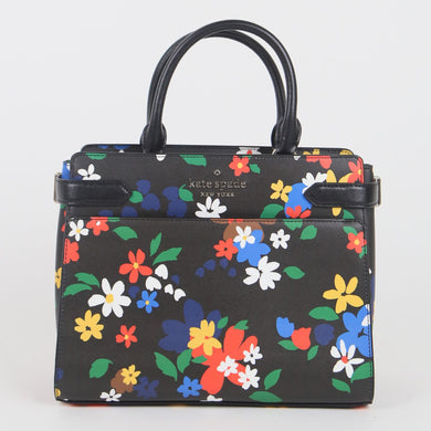 Kate Spade Medium Staci Sailing Floral WKR00367 098 Satchel Bag In Black Multi