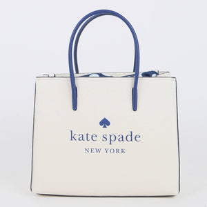 Kate Spade Trista Leather WKR00385 116 Shopper Bag In Parchment Multi