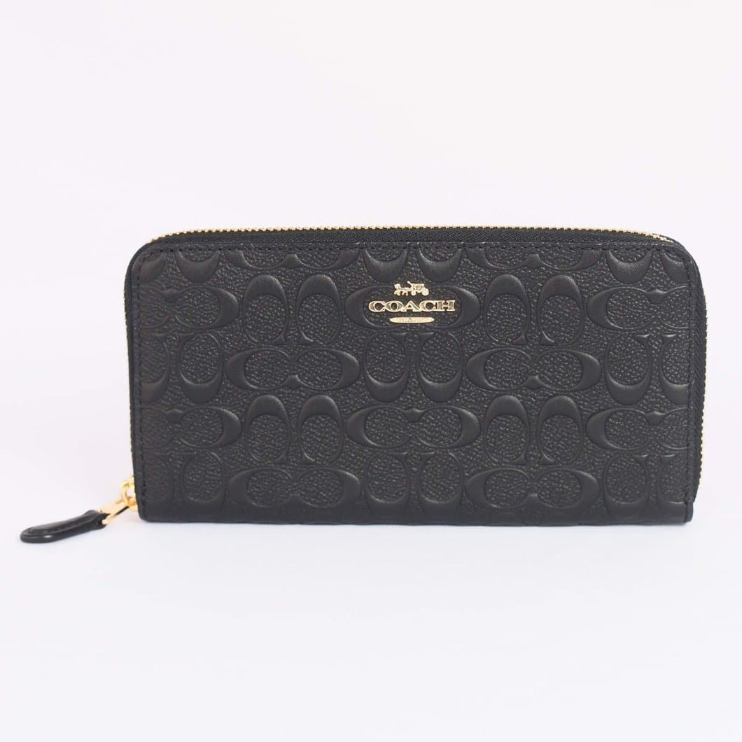 Coach Accordion Zip Wallet With Embossed Signature Leather F67566 In Black