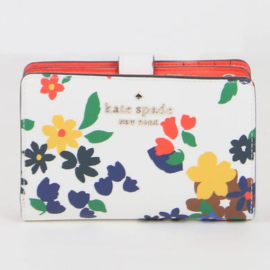 Kate Spade Medium Staci Sailing Floral WLR00417 143 Compact Bifold Wallet In Cream Multi