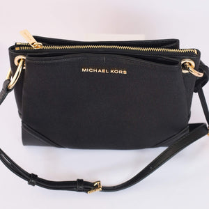Michael Kors Nicole Large Triple Compartment Crossbody Bag 35H9GNIC9L In Black