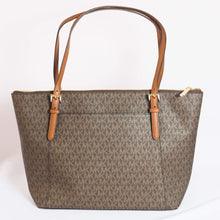 Load image into Gallery viewer, Michael Kors Ciara Large Top Zip Tote Bag 35F8GC6T7B In Brown Signature