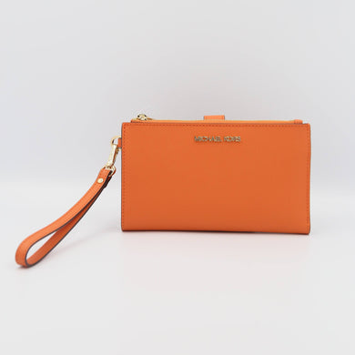 Michael Kors Jet Set Travel 35F8GTVW0L Double Zip Wristlet In Tangerine