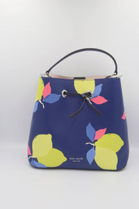 Kate Spade Eva Lemon Zest Large Bucket WKRU6754 In Blue Multi