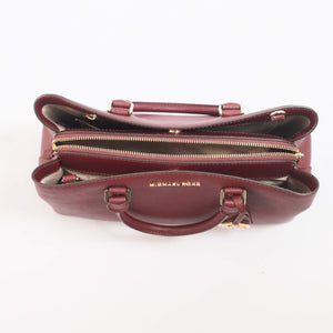 Michael Kors Savannah Large Satchel 35T9GS7S3L in Merlot