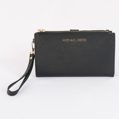 Michael Kors Jet Set Travel Large Double Zip Wristlet 35F8GTVW0L In Black