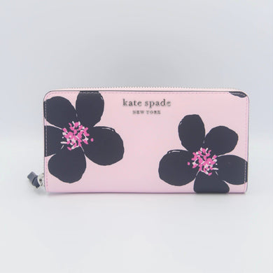 Kate Spade Cameron Grand Flora Large Continental Wallet WLRU6135 In Serendipity Pink Multi