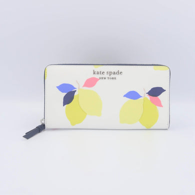 Kate Spade Cameron Lemon Zest Large Continental Wallet WLRU6143 In White Multi