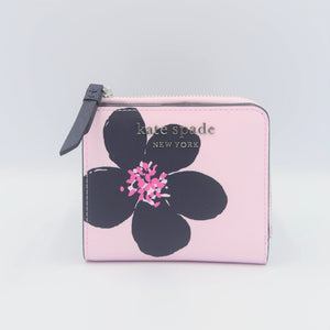 Kate Spade Cameron Grand FLora Small L-Zip Bifold Wallet WLRU6137 In Serendipity Pink Multi