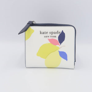 Kate Spade Cameron Lemon Zest Small L-Zip Bifold Wallet WLRU6145 In Whitemulti