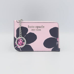 Kate Spade Cameron Grand Flora Medium L-Zip Card Holder WLRU6136 In Serendipity Pink Multi