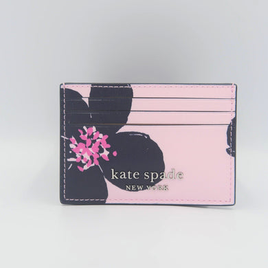 Kate Spade Cameron Grand Flora Small Slim Card Holder WLRU6129 In Serendipity Pink Multi