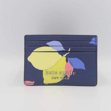 Kate Spade Cameron Lemon Zest Small Slim Card Holder WLRU6146 In River Blue Multi