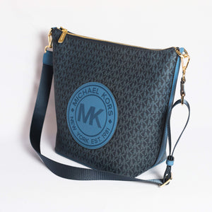 Michael Kors Large Fulton Sport Zip Bucket Messenger Bag 35F9GF0M3B In Dark Chambray Multi