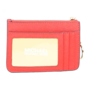 Michael Kors Small Top Zip 35F7GTVU1L Coin Purse Jet Set Tarvel in Flame Red