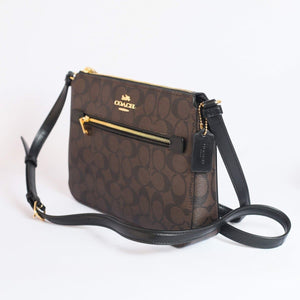Coach Signature Gallery File Crossbody Bag 91013 In Brown Black
