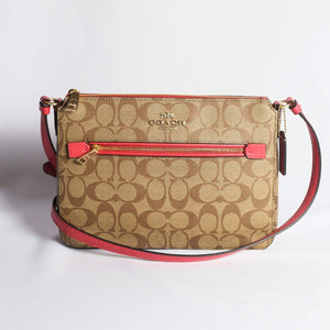 Coach Signature Gallery File Crossbody Bag F91013 In Khaki Poppy