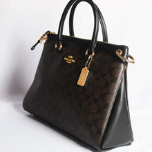 Load image into Gallery viewer, Coach Signature Mia Satchel F76643 In Brown Black