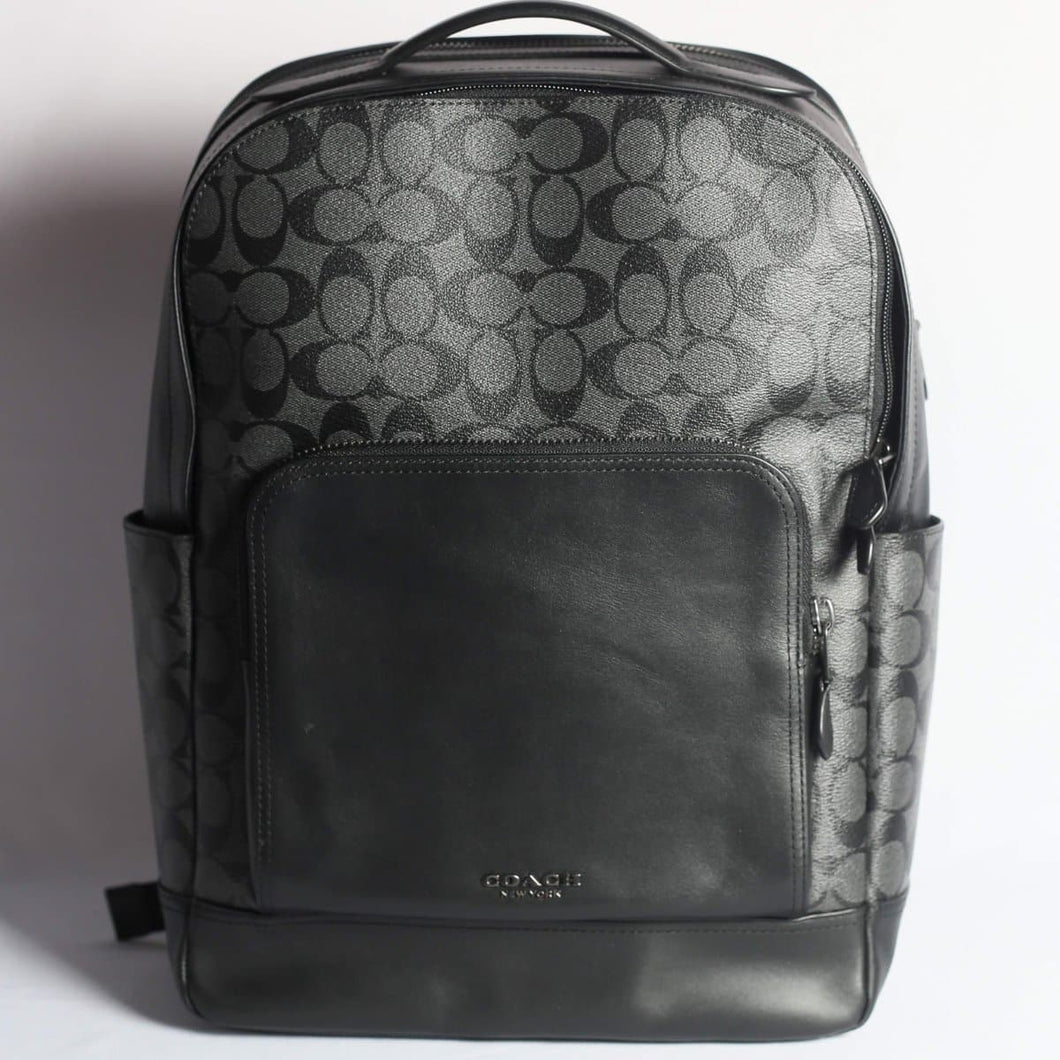 Coach Signature Graham Backpack F38755 In Charcoal Black
