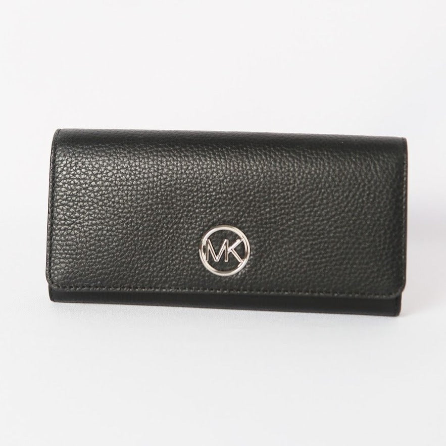Michael Kors Fulton Flap Continental Wallet 35H8SFTE1L In Black