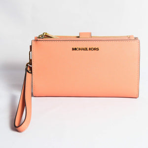 Michael Kors Jet Set Travel large Double Zip Wristlet 35F8GTVW0L In Peach