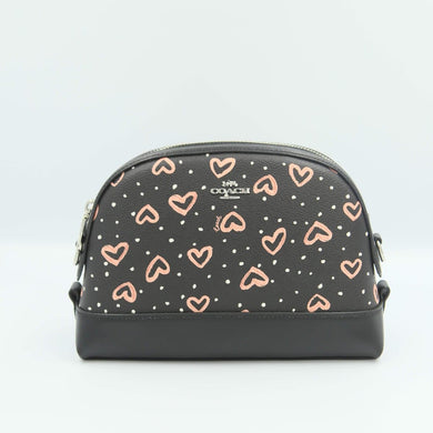 Coach Dome Crossbody With Crayon Hearts Print 91152 In Black Pink Multi