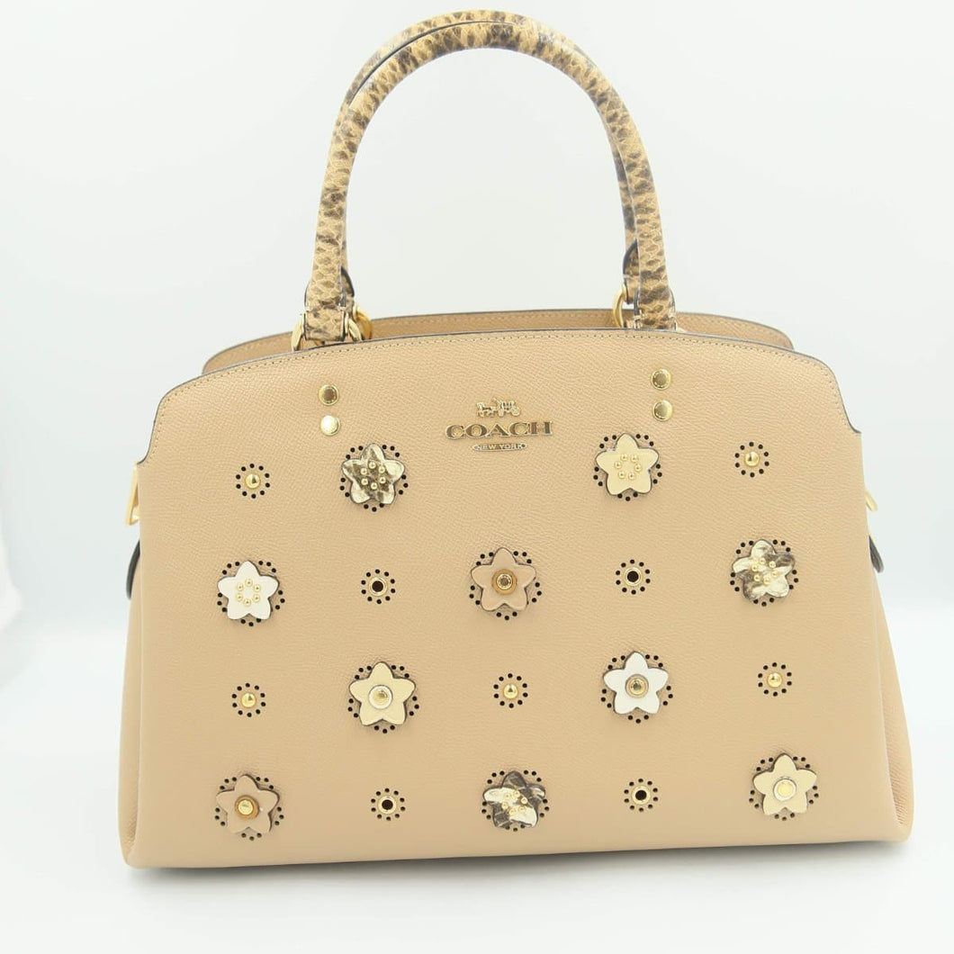 Coach Lillie With Daisy Applique Carryall Bag 91141 In Taupe Multi