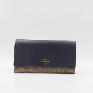 Coach Signature Trifold 88024 Wallet In Khaki Midnight