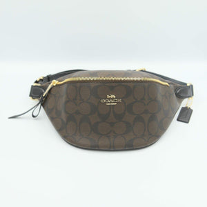 Coach Signature Belt Bag F48740 In Brown Black
