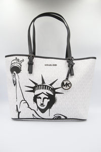 Michael Kors Medium New York City 35F0SW8T2B Carryall Tote Bag In Bright White Multi