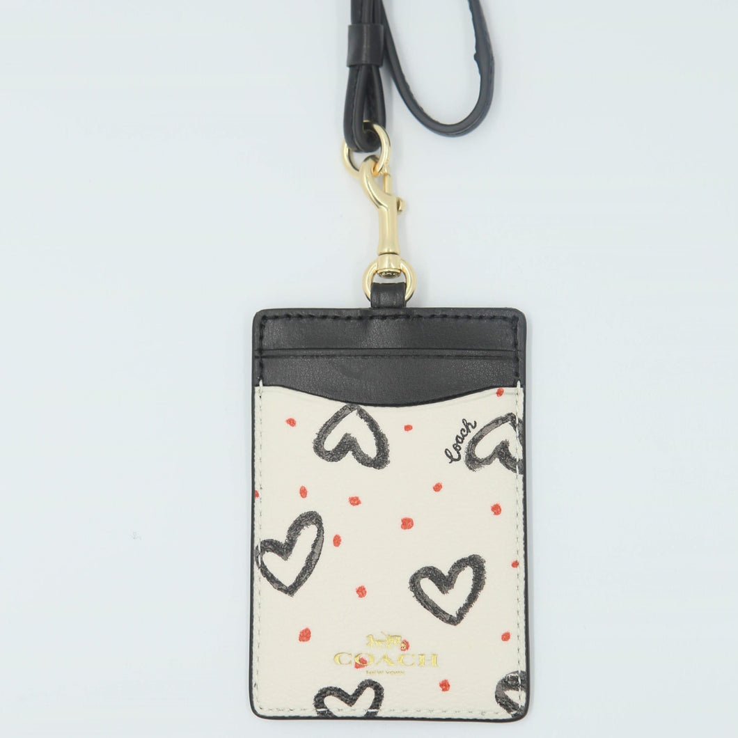 Coach ID Lanyard With Crayon Hearts Prints F91565 In Chalk Pink Multi