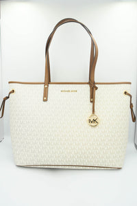 Michael Kors Jet Set Travel Large Top Zip Drawstring Tote Bag 35T9GTVT9V In Vanilla