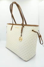 Load image into Gallery viewer, Michael Kors Jet Set Travel Large Top Zip Drawstring Tote Bag 35T9GTVT9V In Vanilla